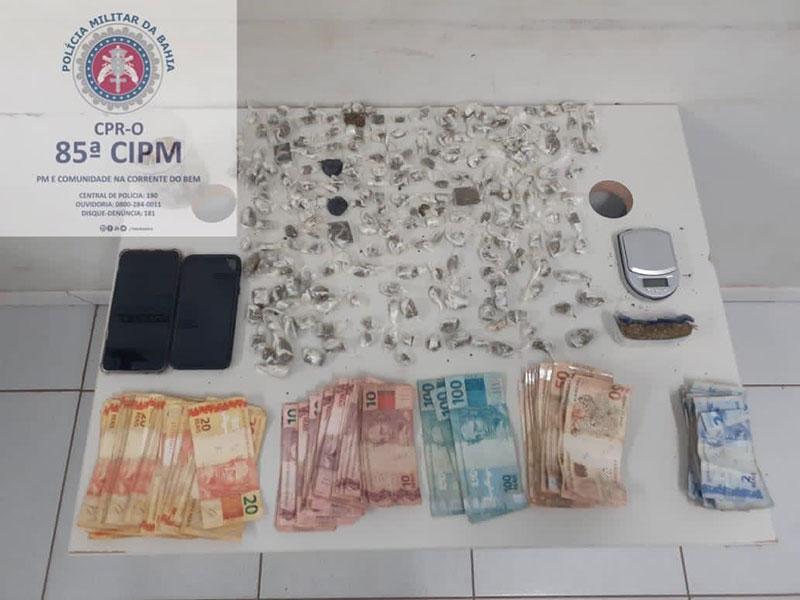Mais de 800 porções de drogas apreendidas pela 85ª CIPM em Luís Eduardo Magalhães