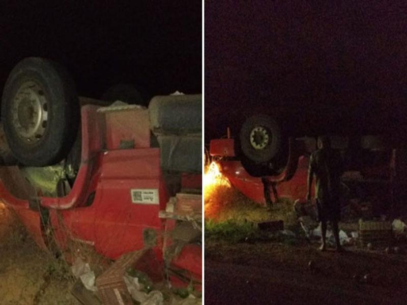 Brumado: Uma pessoa morre e outra fica ferida após caminhão em que estavam tombar