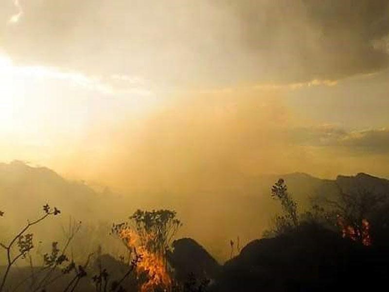 Fogo volta atingir vegetação próximo a Brumadinho em Rio de Contas