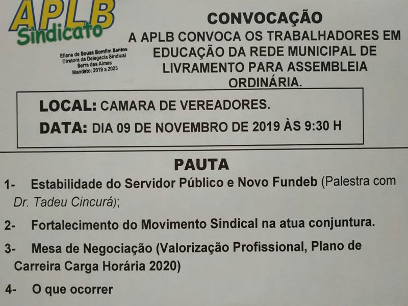 Profissionais da Educação Municipal de Livramento estarão se reunindo neste sábado (09)