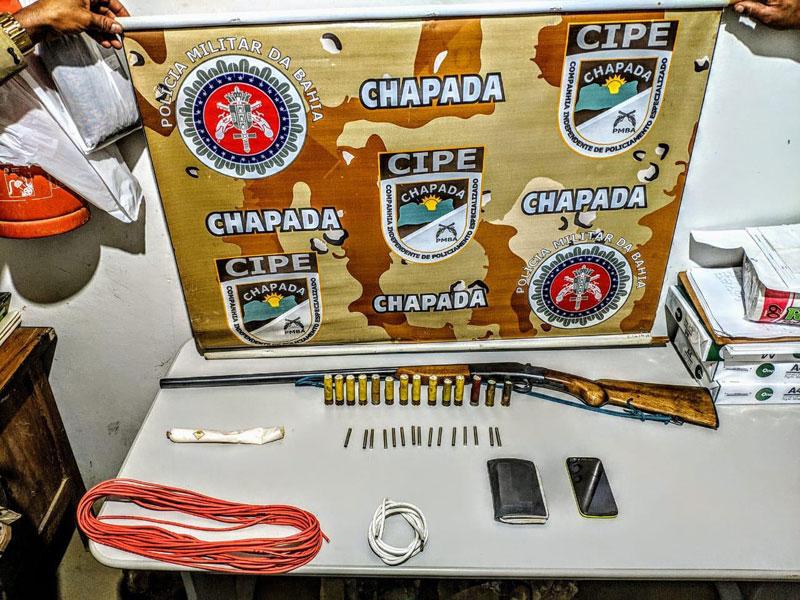 Explosivos apreendidos com criminoso na região da Chapada