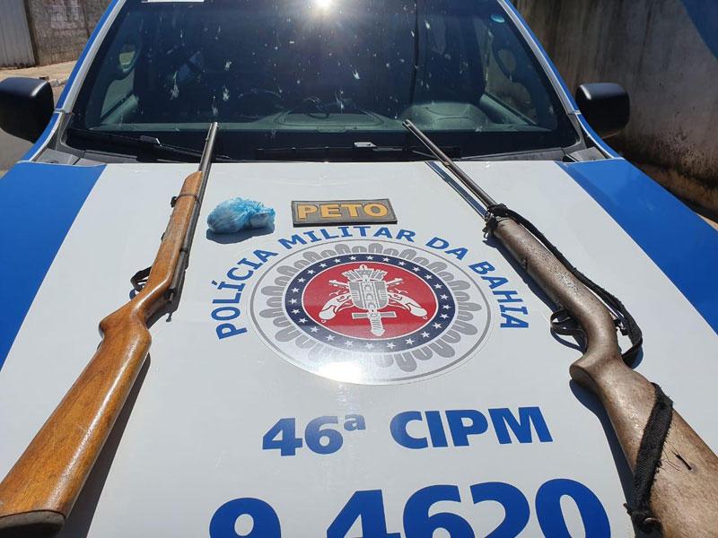 Rio de Pires: Homem é preso e duas espingardas são apreendias pela PM
