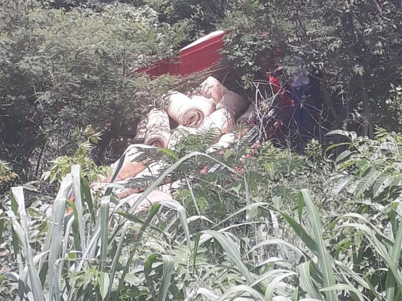 Caminhão perde freios e desce ribanceira na BA-148