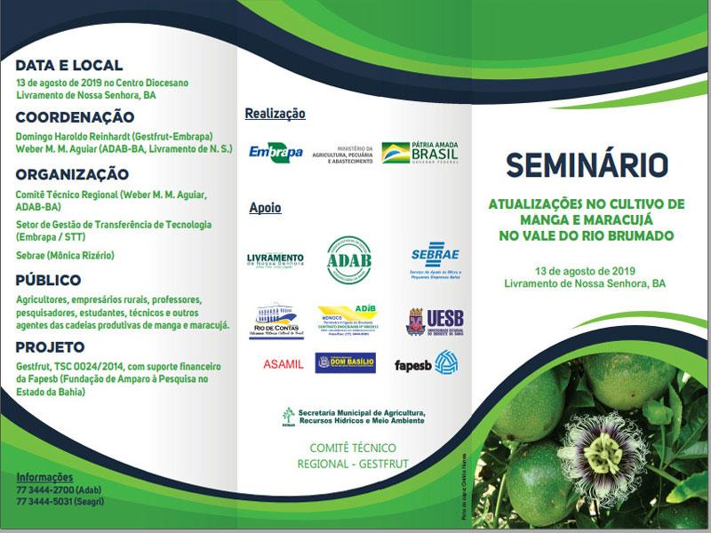 Livramento: Cidade recebe nesta terça-feira (13) Seminário sobre atualizações no cultivo de manga e maracujá