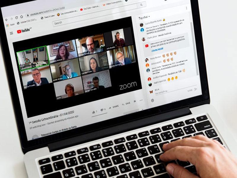 Sessão virtual mantém rotina de trabalho no TCE/BA e busca transparência