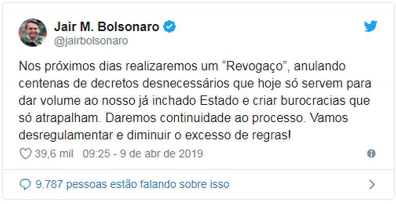 Bolsonaro vai comemorar cem dias de governo com 'revogaço'
