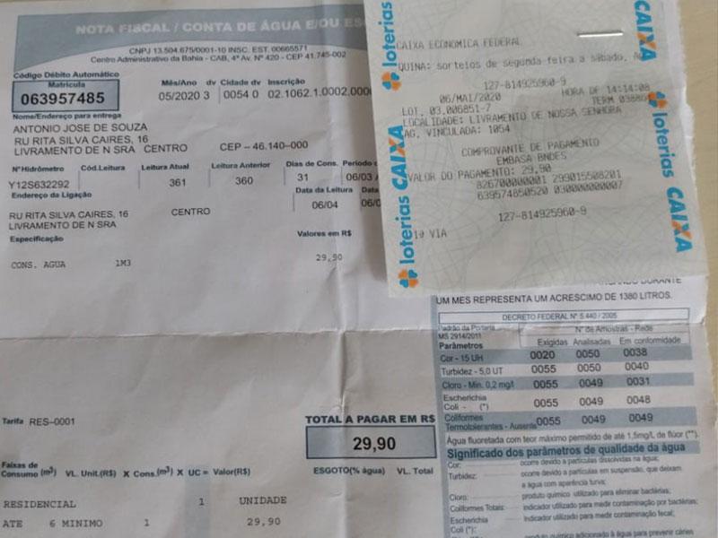 Livramento: Consumidor realiza pagamento de conta de água dentro do prazo mas recebe cobrança Embasa